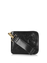 Simone Rocha Floral Applique Leather Clutch Black