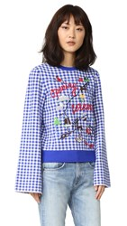 Opening Ceremony Gingham Map Embroidered Sweater Azure Multi