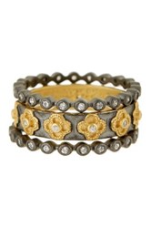 Freida Rothman 14K Gold Plated Sterling Silver Cz Le Jardin Ring Set Black