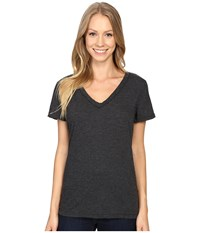 Dylan By True Grit Gauzy Cotton Short Sleeve V Neck Tee Black Women's T Shirt
