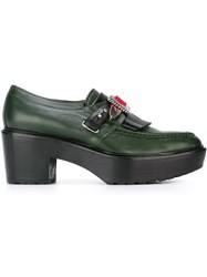 Toga Pulla Fringed Loafers Green