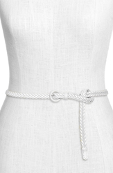 Tarnish Skinny Braided Leather Belt White