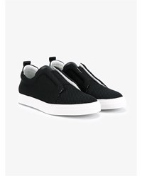 Pierre Hardy Slider Textured Leather Sneakers Black White Denim