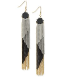 Bcbgeneration Tri Tone Fringe Linear Drop Earrings Gold