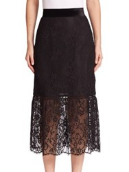 Abs By Allen Schwartz Floral Lace Overlay Skirt Black