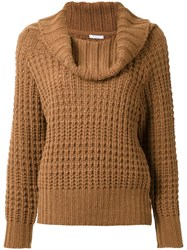 En Route Cowl Neck Waffle Knit Jumper Brown