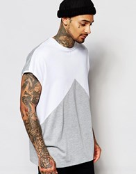 Asos Super Oversized Sleeveless T Shirt With Triangle Cut And Sew White Grey