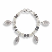 Hissia Moonstone And Labradorite Bracelet With Shield Charms Multi