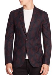 Paul Smith Embroidered Wool Blend Blazer Navy