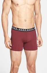 Boss 'Cyclist' Stretch Cotton Boxer Briefs Assorted 3 Pack Burgundy Grey Black
