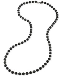 Carolee Hematite Tone Imitation Pearl And Bead Long Necklace Black