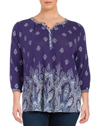 Lucky Brand Plus Three Quarter Sleeve Peasant Top Blue