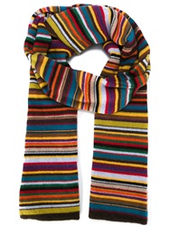 Paul Smith Striped Scarf Yellow And Orange