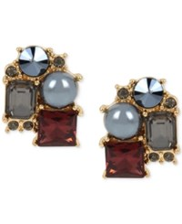 Kenneth Cole New York Gold Tone Imitation Pearl And Stone Cluster Stud Earrings Multi