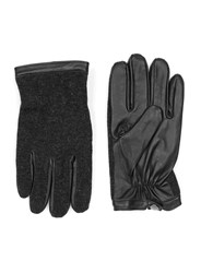 Topman Red Charcoal And Black Leather And Knitted Gloves