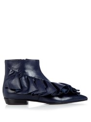 J.W.Anderson Ruffled Leather Ankle Boots Navy