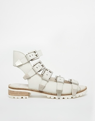 Bronx Buckle Bar Ankle Flat Sandals Whiteleather
