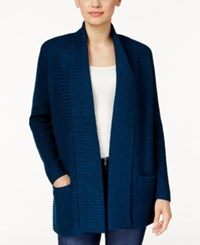 Karen Scott Marled Open Front Cardigan Only At Macy's Teal Lake Marl