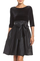 Adrianna Papell Women's Velvet And Taffeta Fit And Flare Dress