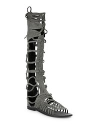 Free People Sunseeker Suede Gladiator Sandals Charcoal Grey