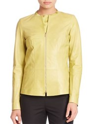 Lafayette 148 New York Glazed Maris Leather Jacket Plantain