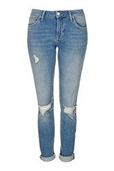 Topshop Moto Blue Ripped Lucas Jeans Mid Blue