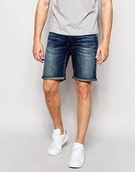 Selected Homme Mid Wash Denim Shorts Mid Blue