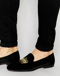 Asos Loafers In Black Velvet With Crown Embroidery Black