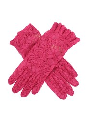 Dents Ladies Lace Glove With Ruffle Cuff Hot Pink