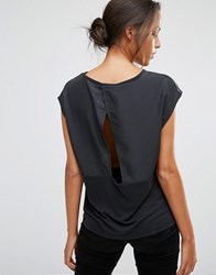 Selected Irina Short Sleeve Top With Wrap Back Opening Black