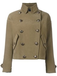 Aspesi Double Breasted Cropped Jacket Green