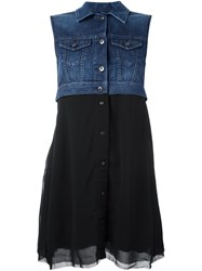 Diesel Denim Panel Flared Dress Black