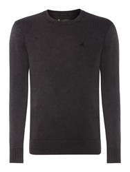 Label Lab Powder Wash Crew Neck Knitted Jumper Dark Grey