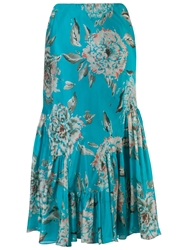 Chesca Floral Print Skirt Turquoise