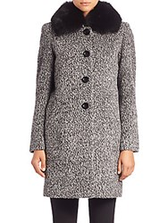 Sofia Cashmere Boucle Fur Collar Coat Black White