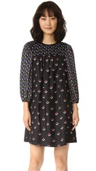 Marc Jacobs Long Sleeve Shift Dress Black Multi