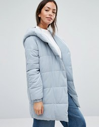 New Look Padded Wrap Over Coat Mid Grey