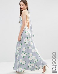 Asos Tall Open Back Maxi Dress In Floral Print Multi