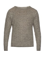 Oliver Spencer Ossian Crew Neck Striped Linen Top Grey Multi