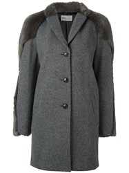 Kolor Faux Fur Detail Coat Grey