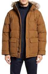 Sorel Men's Ankeny Quilted Goose Down Jacket With Detachable Genuine Coyote Fur Trim