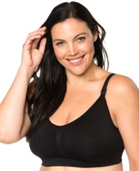 Motherhood Maternity Plus Size Seamless Full Coverage Clip Down Nursing Bra Black