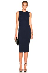 Victoria Beckham Elite Viscose Crochet Signature Dress In Blue