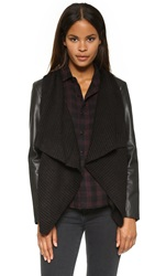 Bb Dakota Sarafina Jacket With Sweater Drape Front Black