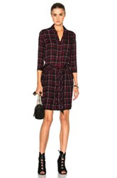 L'agence Kendall Dress In Black Red Checkered And Plaid Black Red Checkered And Plaid