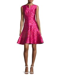 Oscar De La Renta Leopard Jacquard Fit And Flare Dress Currant Hot Pink Pink Red