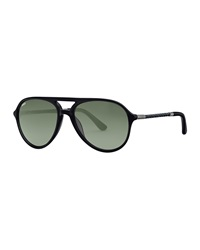 Tod's Braided Plastic Aviator Sunglasses Shiny Black Green