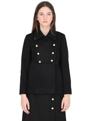 Gucci Double Breasted Wool Coat With Ruffles