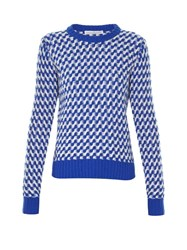 Golden Goose Zigzag Intarsia Crew Neck Sweater Blue Multi