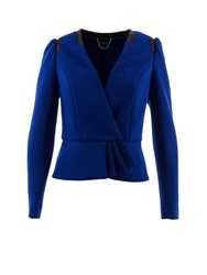 Morgan Cropped Textured Contrasting Edge Jacket Blue
